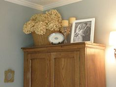 Wedgewood Gray + antique oak furniture. Have my grandparents wardrobe that looks very similar.