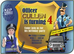 Police birthday party e-invitation, part of a package including a printable set and a poster scene-setter set. Scene Setters, Young At Heart, 4th Birthday Parties, Bar Mitzvah, Sweet Sixteen, Party Printables, Best Part Of Me, Police, Invitations