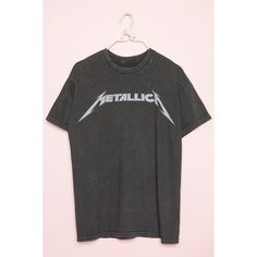 METALLICA Tee ($28) ❤ liked on Polyvore featuring tops, t-shirts, oversized t shirt, gray top, over sized t shirt, gray tees and gray t shirt