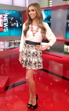 Pair a white 3/4 sleeve top with red bubble necklace and pair with similar skirt already in my closet and pumps!
