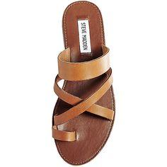 Steve Madden Women's Ambler Sandals ($70) ❤ liked on Polyvore featuring shoes, sandals, cognac le, gladiator flats sandals, leather strap sandals, flat sandals, toe loop sandals and steve madden sandals