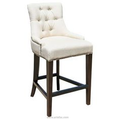 """R-1081 26"""" Tufted Counter Stool in Linen Fabric"""