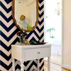 chevron wall wanna do this in my new room at my new house! Decoration Inspiration, Interior Inspiration, Design Inspiration, Bathroom Inspiration, Interior Ideas, Paredes Chevron, Chevron Accent Walls, Navy Chevron, Striped Walls
