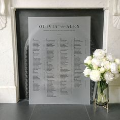This elegant table plan can be printed with either black or white ink on to thick semi-opaque Acrylic (also known as Perspex, Lucite or Plexiglass). Guest names can be listed alphabetically or by table. Wedding Welcome Table, Wedding Mood Board, Wedding Table, Our Wedding, Wedding Ideas, Dream Wedding, Wedding Inspiration, Table Seating Chart, Seating Chart Wedding