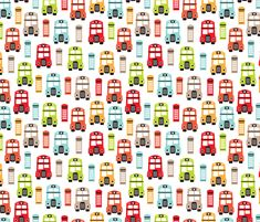 Colorful retro London bus UK great britain pattern fabric by littlesmilemakers on Spoonflower - custom fabric
