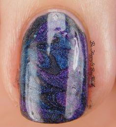 Galaxy Nail Art macro with Bad Bitch Polish Hera, Poseidon, Amethyst Andromeda   Be Happy And Buy Polish https://behappyandbuypolish.com/2017/04/11/bad-bitch-polish-love-your-planet-nail-polish-collection-galaxy-nail-art/