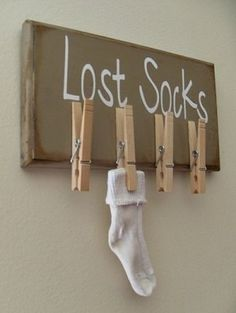 """lost socks"" hanger - great for the laundry room! This really can come in handy. Too many lost socks! Home Projects, Craft Projects, Projects To Try, Lost Socks, Ideas Para Organizar, Laundry Room Organization, Thread Organization, Getting Organized, Home Improvement"