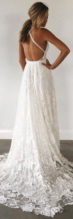 A-Line Straps Backless Court Train Lace Beach Wedding Dress WD108