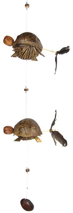 Two Sea Turtles Coconut Shell Mobile, Patio, Balcony, Veranda Décor