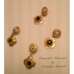 """Gorgeous ancient earring reproductions by Alexandra Marshall with pearls, your choice of black or peridot Swarovski crystals, and florentine gold overlay. 1 1/2"""" drop. $34. (1 pair). Additional custom colors available upon request. Warranty."""