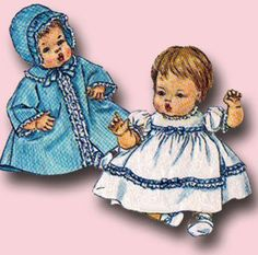 1960s Vintage Simplicity Sewing Pattern 4723 Uncut 14 Inch Baby Doll Clothes