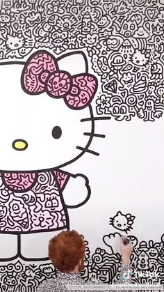 Hello Kitty Drawing, Hello Kitty Rooms, Wave Drawing, Fun Crafts, Arts And Crafts, Hello Kitty Wallpaper, 6th Birthday Parties, Doodle Drawings, Pretty Art