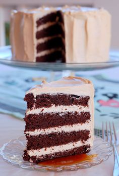 Dark Chocolate Cake with Caramel Frosting | Free Eats