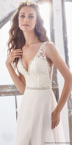 morilee spring 2017 bridal sleeveless v neck heavily embellished bodice elegant sheath wedding dress open v back chapel train (5505) zv -- Morilee by Madeline Gardner Spring 2017 Wedding Dresses