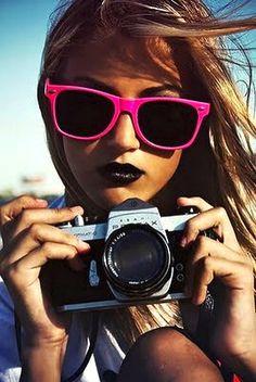 black lipstick and pink sunglasses. Pink Sunglasses, Sunglasses Outlet, Ray Ban Sunglasses, Sunnies, Sunglasses Online, Baseball Sunglasses, Polarized Sunglasses, Sunglasses Women, Splash Photography