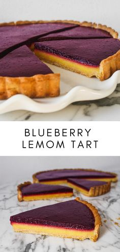 Stunning Blueberry Lemon Tart This layered tart features a sweet-tart lemon curd and a vibrant blueberry layer. Naturally sweetened and lower in sugar than more lemon tart recipes, this stunning dessert is a fan favorite! Tart Recipes, Baking Recipes, Sweet Recipes, Dessert Recipes, Dessert Tarts, Just Desserts, Delicious Desserts, Yummy Food, Blueberry Desserts