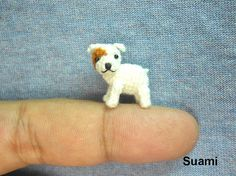 Miniature Tan Bulldog  Mini Tiny Crochet Dogs  Made To by SuAmi, $52.00
