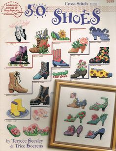 CCS - 50 Shoes Cross Stitch Designs - American School Of Needlework #3699 - Miniature Cross Stitch