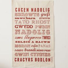 Hand screen printed natural cotton tea towel featuring a medley of all your Christmas food favourites Christmas Tea, Christmas Makes, Learn Welsh, Welsh Words, Welsh Language, Welsh Recipes, Visit Wales, Wales, Noel