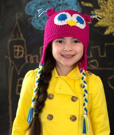 Hootin' Owl Hat Free Crochet Pattern from Red Heart Yarns