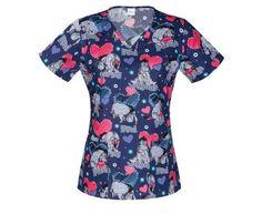 385a8a01d7b Details about Disney Eeyore V-neck Scrub Top XS Uniform Nurse Vet Dental  Valentines Day Xsmall