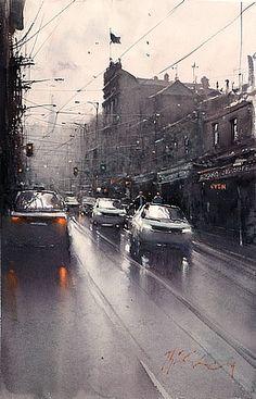 Joseph Zbukvic ~ town - #watercolour