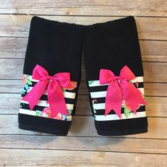Black Towel, hand towels, bath towels, custom towel, black white stripe, hot pink and black, bathroom, bathroom, pink, towel, rose, floral by AugustAve on Etsy