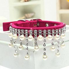 Pet Collar Bling Rhinestone Pearl Necklace For Dogs Small Puppy Collars with PendentOmenTech ** Find out more about the great product at the image link.Note:It is affiliate link to Amazon.