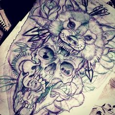 Wolf and skull tattoo sketch by me !