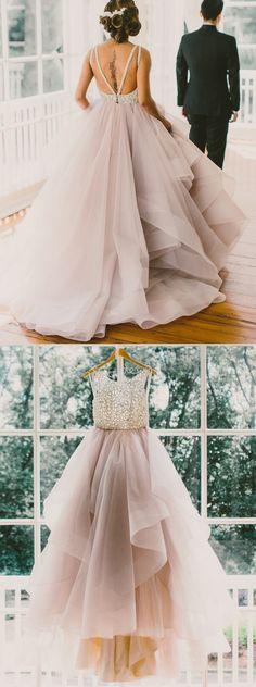 Gorgeous A-line Scoop Lavender Ruffles Bridal Gown/ Wedding Dress