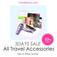 3Day Sale - 10% Off on All Travel Accessories until Sunday Discounted price will be reflected at checkout /  Free shipping to Canada $49 Order http://www.aonebeauty.com/travel/?sort=newest #sale #beauty #travel #accessory #freeshipping