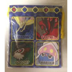 Pokemon Center 2013 Xerneas Yveltal Gogoat Inkay Chespin Fennekin Froakie Helioptile Drawstring Dice Bag