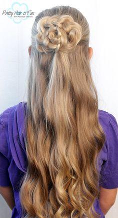Pretty Hair is Fun: Half Up Hair Flower Back To School Hairstyles, Down Hairstyles, Pretty Hairstyles, Easy Hairstyles, Flower Hairstyles, Wedding Hairstyles, Up Styles, Short Hair Styles, Hairdo Wedding