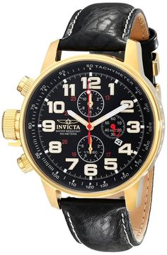 Invicta Men's Quartz Watch with Chronograph Display and Leather Strap