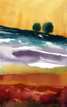 """""""End of Summer"""" (Tuscany) 2015 (c) Stefania Boiano #watercolor #art #abstract #painting #landscape #italy"""