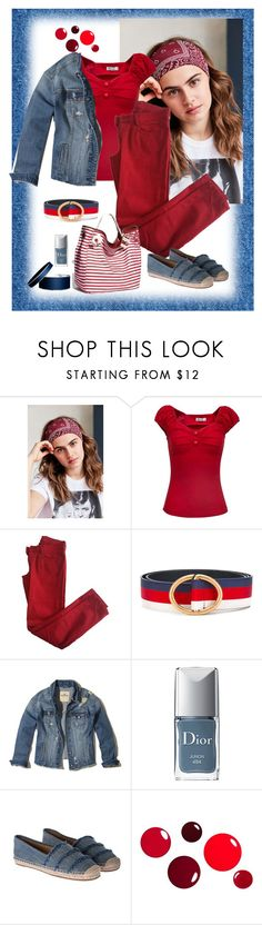 """""""Denim & Red"""" by gagenna ❤ liked on Polyvore featuring Urban Outfitters, Comptoir Des Cotonniers, BC Footwear, Gucci, Hollister Co., Christian Dior and Michael Kors"""