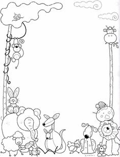 Colouring Pages, Free Coloring, Coloring Sheets, Adult Coloring, Coloring Books, Borders For Paper, Borders And Frames, Boarder Designs, Kindergarten Portfolio