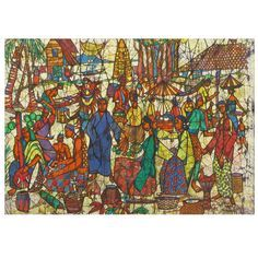 Colorful & Detailed 1968 Batik Painting By Kheng Wah Yong  Malaysia  Circa 1968  Colorful batik framed Malaysian market scene painting on silk fabric. Signed Kheng Wah Yong 1968. One of her early works. Batik painting is the art applying wax and dye on cotton cloth is an ancient medium that is being revived in Malaysia.