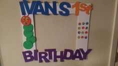 Very hungry caterpillar photo booth frame. Items used: foam paper and cut out foam board