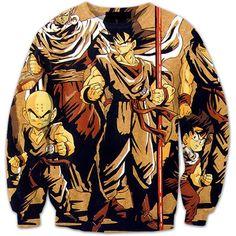 1d022e1d32f7 Vintage 90s Dragon Ball Z Main Characters 3D Crewneck Sweatshirt