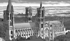 Cathédrale de Laon vue du ciel.