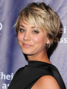 """<span><a href=""""https://instagram.com/kaleycuoco/"""">Cuoco</a></span> cut her hair back in the summer, but we're still drooling over it. The choppy, messy layers make it easy to style and give the look volume boost."""