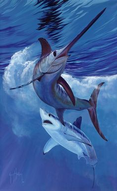 LIVE BY THE SWORD The mako and swordfish in an epic confrontation. Fish Artwork, Huge Dogs, Blue Marlin, Megalodon, Marine Conservation, Fishing Pictures, Deep Sea Fishing, Ocean Creatures, Gone Fishing