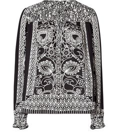 Black And Cream Ethnic Tunic Top by Anna Sui