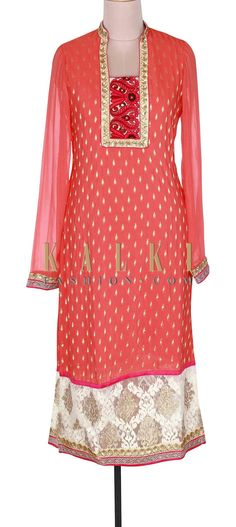 Buy Online from the link below. We ship worldwide (Free Shipping over US$100). Product SKU - 300822. Product Link - http://www.kalkifashion.com/peach-kurti-adorn-in-resham-and-zari-embroidery-only-on-kalki.html