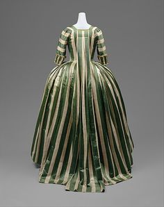 Robe à la Française, 1775-85, French, linen and silk.
