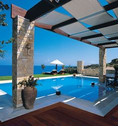 Getaway to the Greek Isles. The luxury Porto Zante Villas & Spa is an exclusive resort located on a private beach on the beautiful island of Zakynthos in Greece. Gazebos, Outdoor Pool, Outdoor Decor, Shade Structure, Dream Pools, Beautiful Pools, Backyard, Patio, Cool Pools