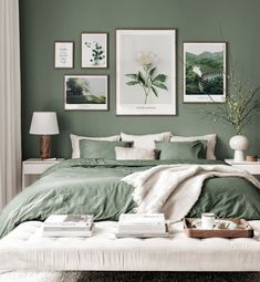 Gallery Wall Inspiration - Shop your Gallery Wall - Posterstore. Green Bedroom Walls, Green Rooms, Green Bedroom Colors, Sage Green Bedroom, Home Bedroom, Bedroom Decor, Bedrooms, Gallery Wall Bedroom, Gallery Wall Frames