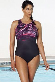 Chlorine Resistant - Aquabelle Black Plum High-Neck Swimsuit