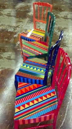 Hand painted and varnished colorful chairs - Decor It Darling